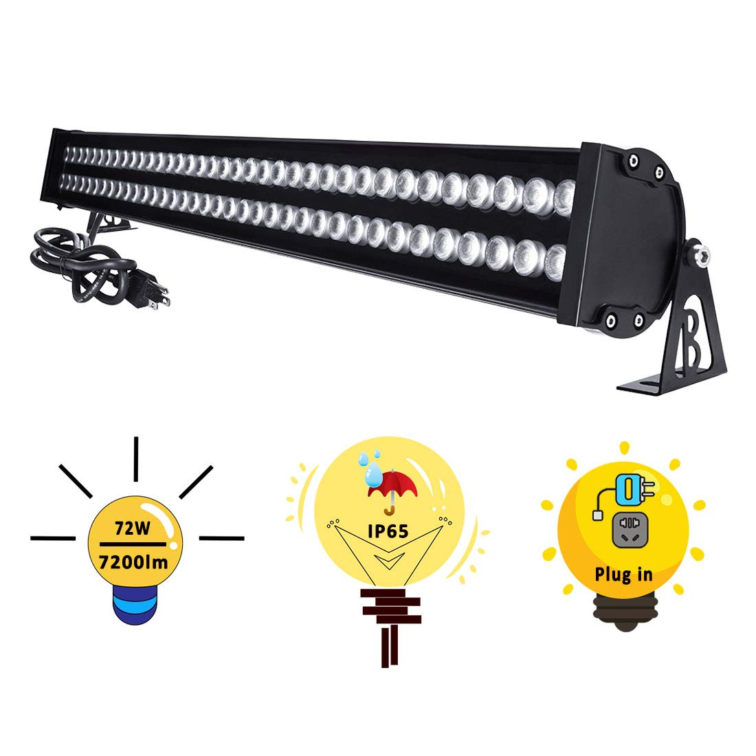 YRXC 72W LED Wall Washer Lights 3.2ft/40'' 120V IP65 Waterproof Linear LED Light Bar Warm White 3000K Walls Trees Billboards Building Decorations Outdoor/Indoor LED Lamp With Plug In