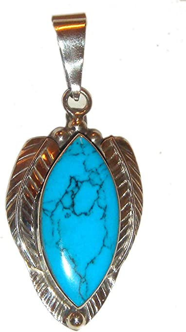 Vintage Retro Pendant. 925  Sterling Silver Turquoise Oval Pendant Necklace