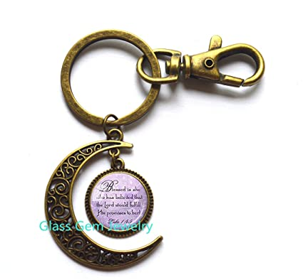 Best Friend Moon Keychain God Refuge Strength Birthday Gift Mom Daughter Jewelry Sympathy Scripture
