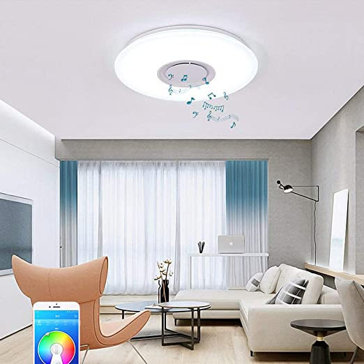 Ranbb 24w Led Music Ceiling Light Color Changing Bluetooth