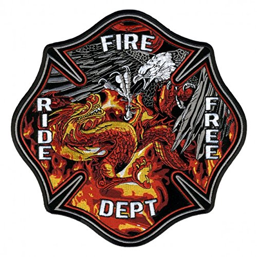 Hot Leathers, EAGLE VS FIRE DRAGON, High Quality Iron-On / Saw-On, Heat Sealed Backing Rayon PATCH - 5
