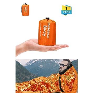 Charminer Saco de Dormir de Emergencia, Saco de Emergencia Impermeable y Mantener Caliente Carpa Portátil para Supervivencia en la Naturaleza Montañismo ...