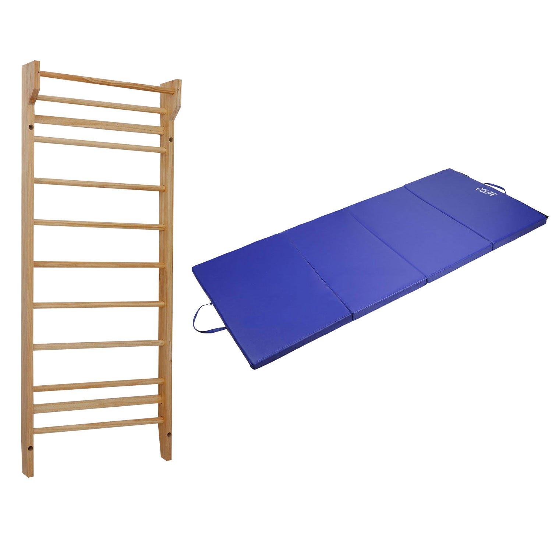 CCLIFE Gymnastikmatte Weichbodenmatte klappbar mit Sprossenwand Kletterwand, Faltbare Turnmatte mit Turnwand Holz