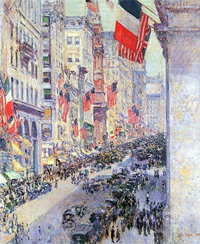 The Museum Outlet - The avenue along 34th Street, May 1917 by Hassam, Stretched Canvas Gallery Wrapped. - Street Shopping 34th