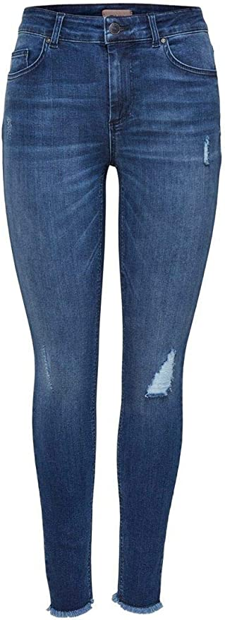 Only Nos Onlblush Mid Ank Raw Jeans Rea2077 Noos, Vaqueros Skinny para Mujer