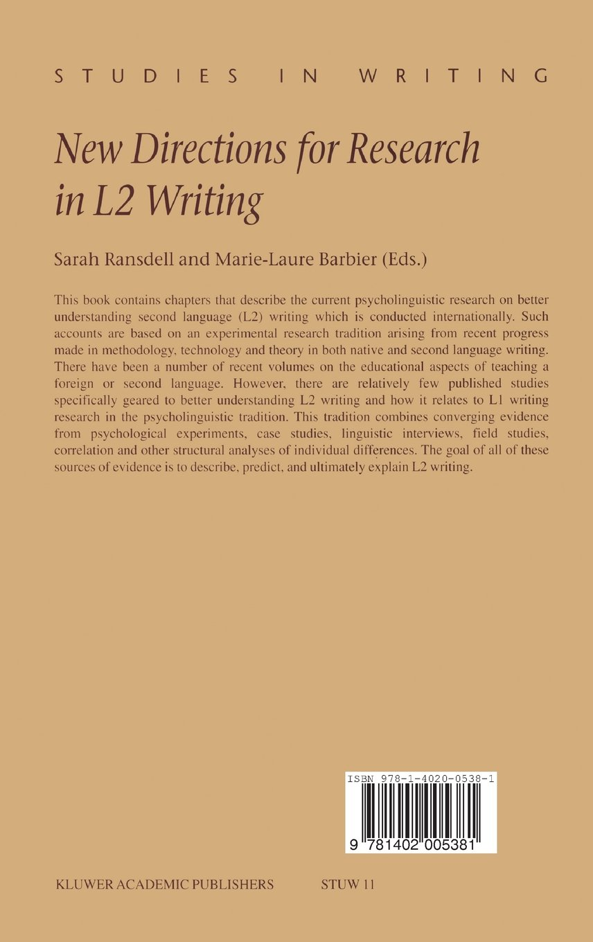 New Directions for Research in L2 Writing (Studies in Writing)