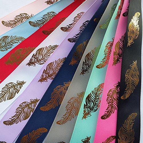 Dandan DIY 20Yards Assorted of 10 Colors Golden Leaf Grosgrain Ribbon Craft Hair Bow Making(Leaf)