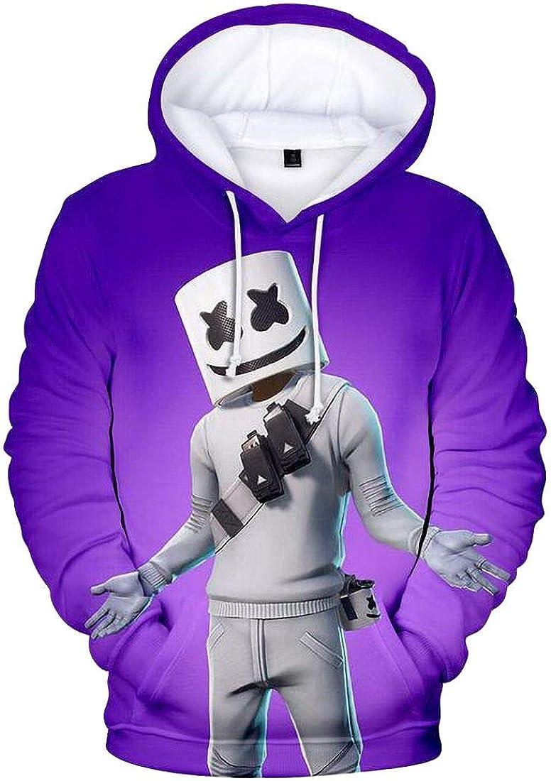 Abeaicoc Men Long Sleeve Stylish 3D Printed Pullover Pockets Hooded Sweatshirt