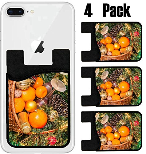 MSD Phone Card holder, sleeve/wallet for iPhone Samsung Android and all smartphones with removable microfiber screen cleaner Silicone card Caddy(4 Pack) IMAGE ID: 31017067 Wicker basket for a picnic u -