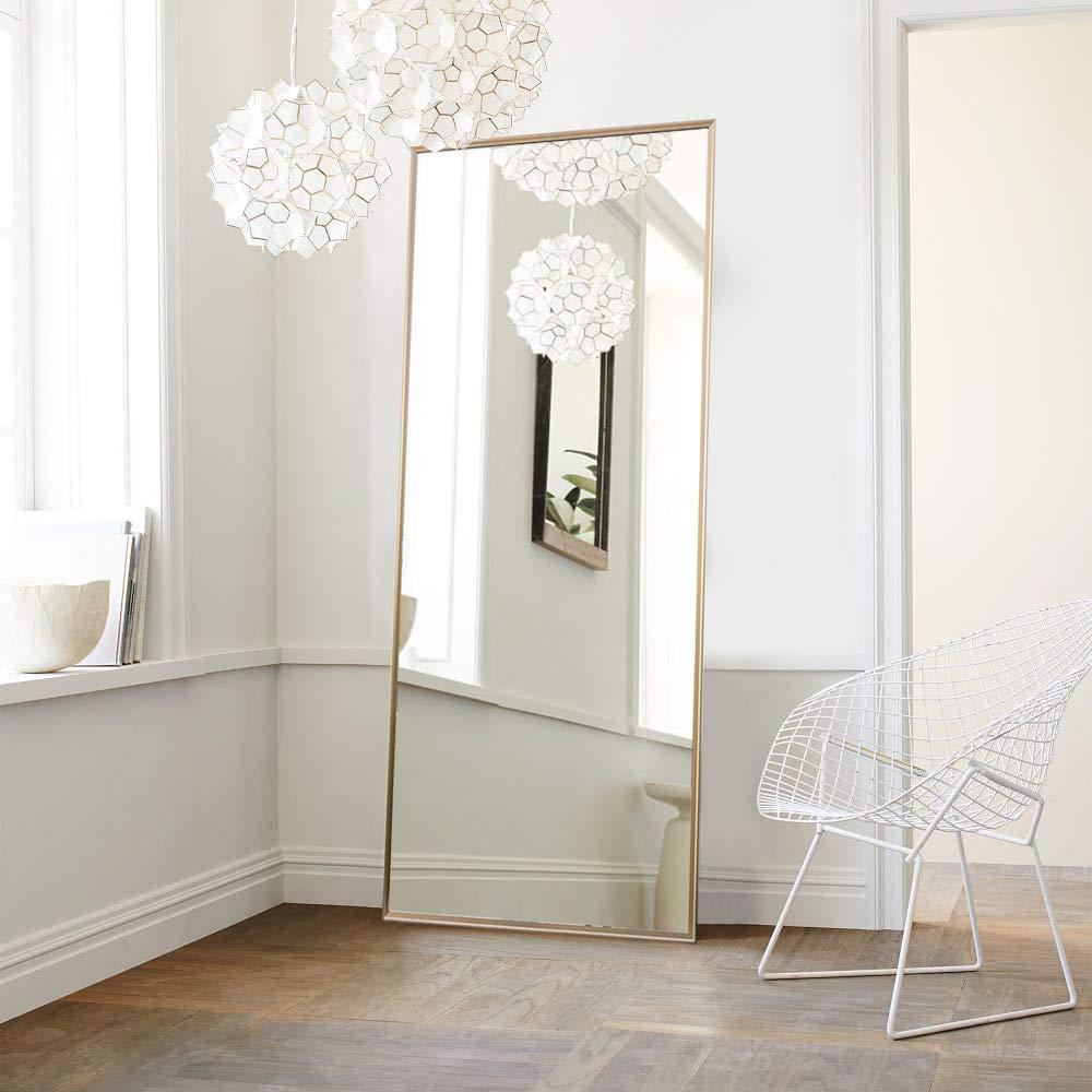 NeuType Full Length Mirror Floor Mirror with Standing Holder Bedroom/Locker Room Standing/Hanging Mirror Dressing Mirror Wall-Mounted Mirror (Golden) by NeuType