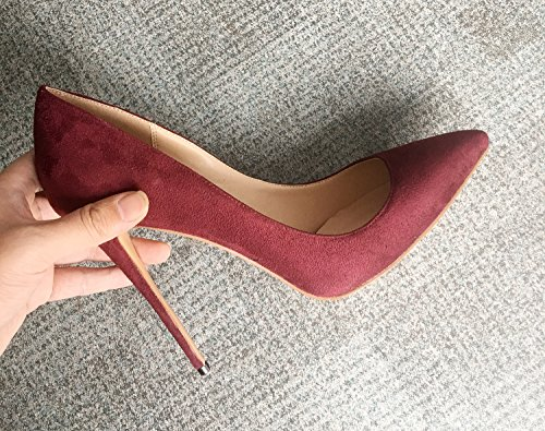 Place C Big Stiletto suede Ladies Pumps Work Patent Shoes burgundy Solid Size For Party Guoar Toe Womens Dress Pointed OqnHCwxgB