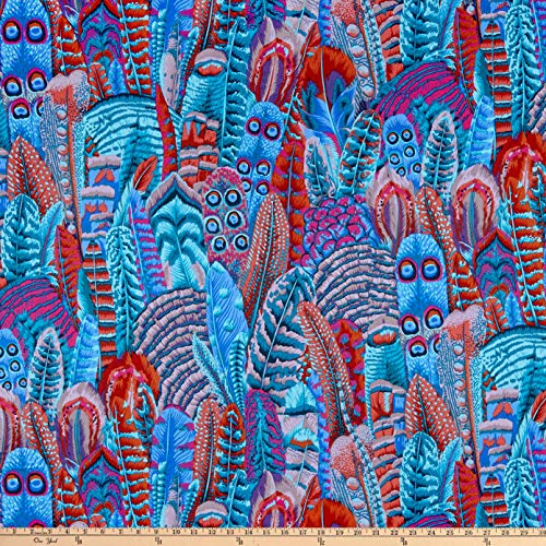 FreeSpirit Fabrics Kaffe Fassett Collective for Feathers Turquoise Fabric Fabric by the Yard
