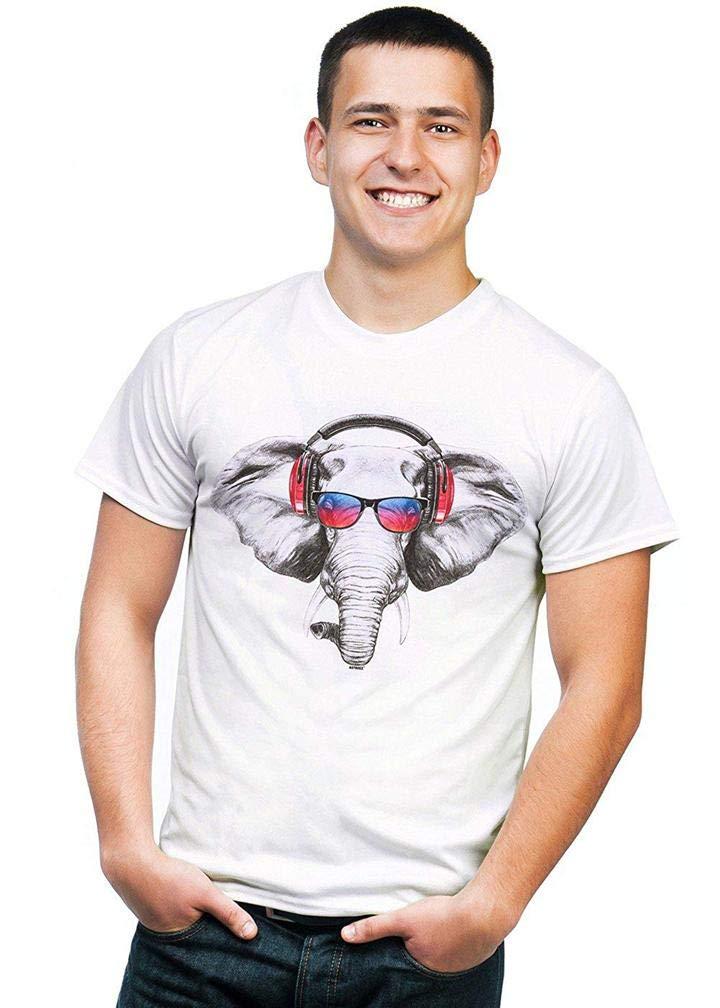 Dj Elephant With Headphones S Printing S Funny Short Sleeves Shirts