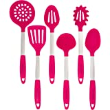 Culinary Couture Stainless Steel and Silicone Cooking Utensil Set with Ebook - Magenta