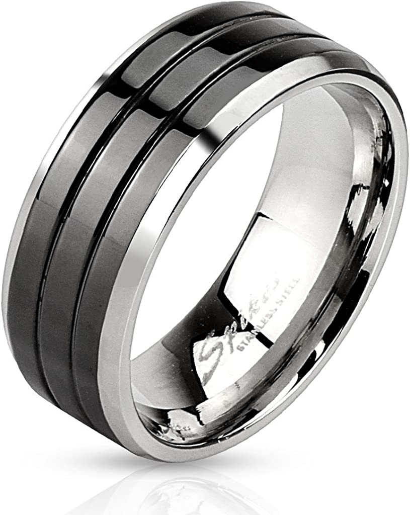 Center Black IP with Roman Numerals Beveled Edge Band Ring Stainless Steel,Cable Center Black IP Stainless Steel Ring,Triple Grooved Center Black IP Stainless Steel Band Ring with Beveled Edges