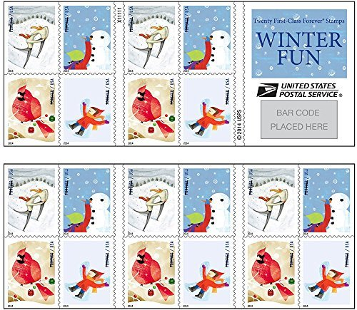 USPS Forever Postage Stamps Winter Fun Booklet of - Stamps Fun Postage