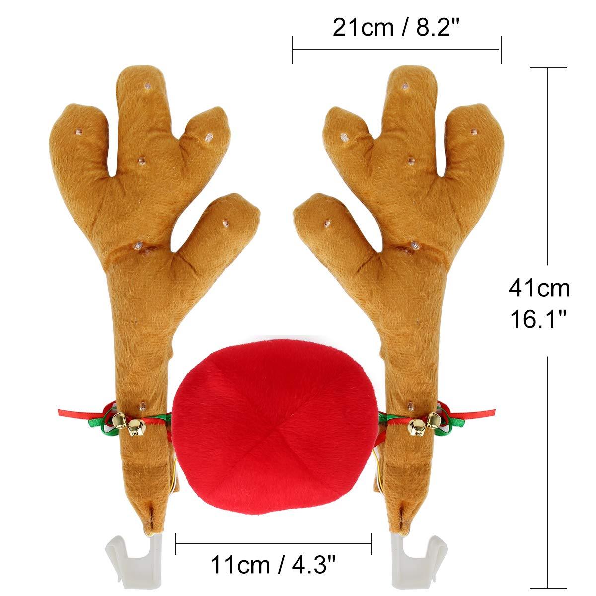 Kitchnexus Reindeer Costume Kit con Jingle Bells Decorazione auto Decorazione auto Natale