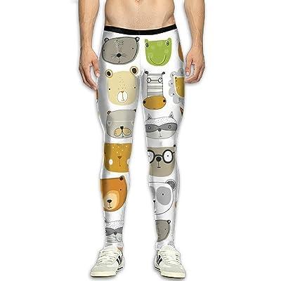 Mens Animals Head Compression Pants Sport Tight Leggings Elastic Waist Baselayer Yoga Sports Trousers