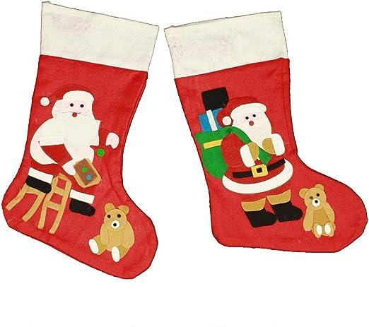 HAAC Bota-calcetín Botas calcetín de Navidad con Papá Noel fieltro 48 cm: Amazon.es: Hogar