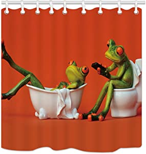 NYMB Funny Animals Decor, One Frog Sit on Toilet The Girl Frog in The Bathtub for Kids Shower Curtain Waterproof 69X70 inches Polyester Fabric Fantastic Decorations Bath Curtain Hooks Included