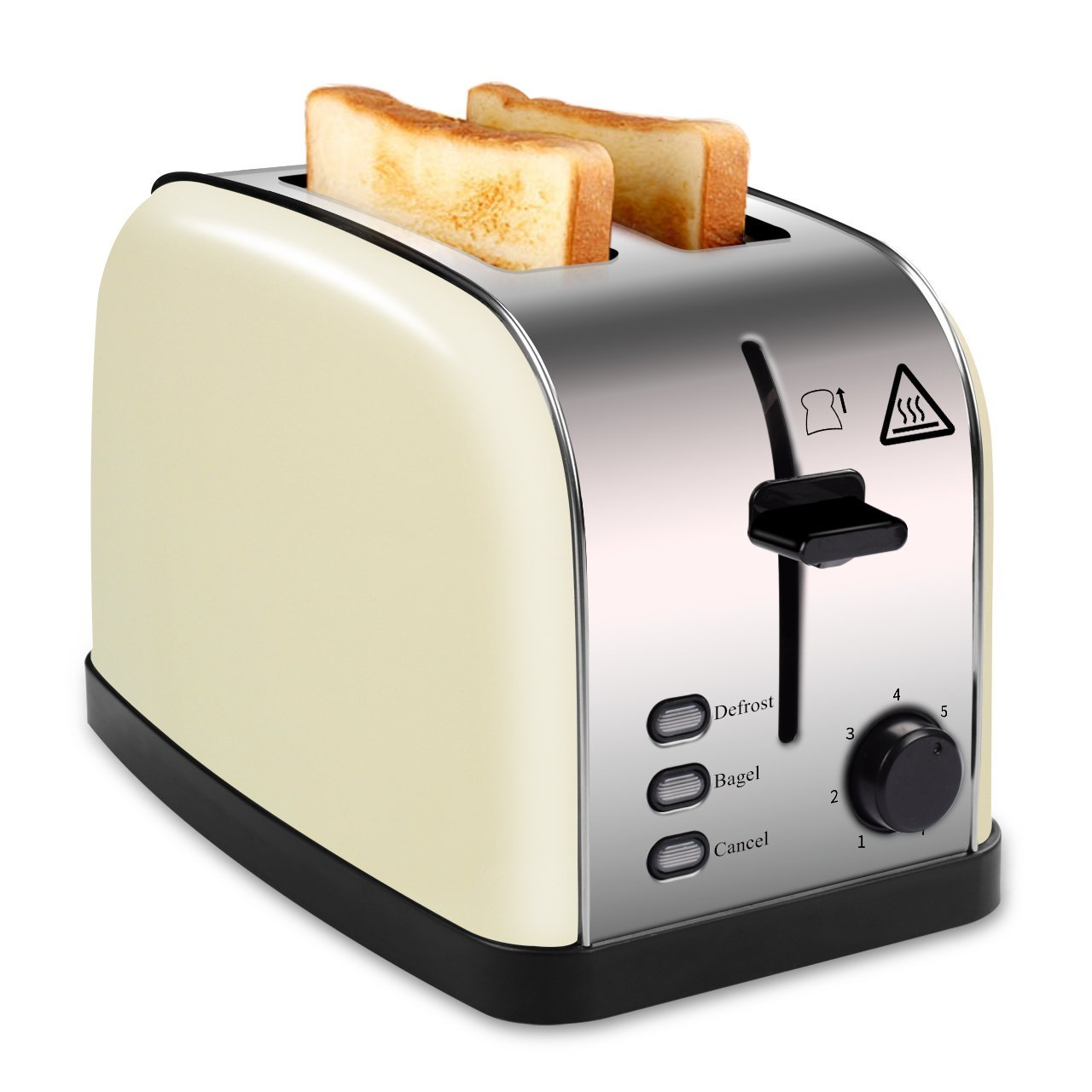 MADETEC 2 Slice Wide Slot Toaster for Bread Bagel, Brushed Stainless Steel Toaster with Removable Crumb Tray,High Lift Lever, Defrost, Bagels and 7 Shade Setting (Beige)