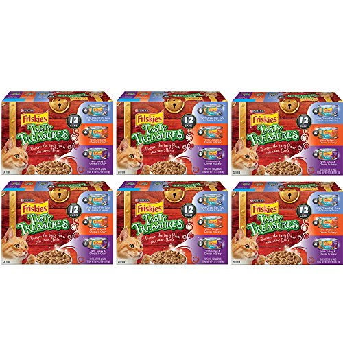 .Purina Friskies. Tasty Treasures Tasty Treasures Variety Pack Adult Wet Cat Food – (12) 5.5 FL oz. Cans