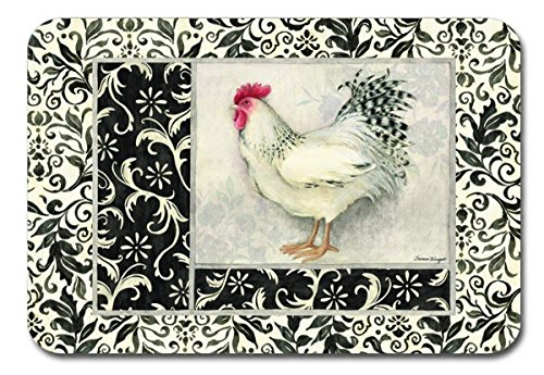 (Keller Charles Placemats Vinyl Washable for Table Set of 8 Rooster French Country Decor)
