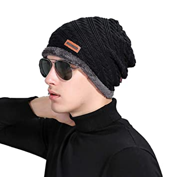 0abf0fcaff9 European and American Autumn and Winter Twill Knit Hat Male Labeling Plus  Velvet Warm Hat