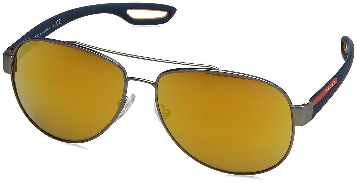 Prada Sport Herren Sonnenbrille 0PS54SS 5AV6U2, Grau (Gunmetal/Green Blue Green), 59