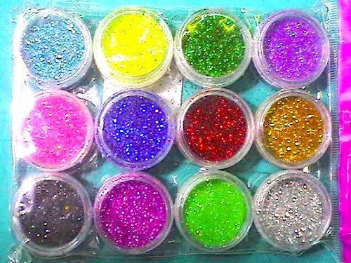 Kit 12 colori: BRILLANTINA (GLITTER) per Cosmetica extrafine 12mycron in polvere (stock da 12 colori assortiti) dalu