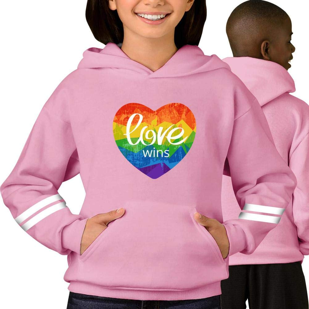 Youth Hoodie Rainbow Heart with Love Wins Pullover Sweatshirt
