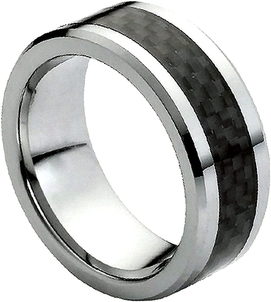 Mens 8mm Pipe Cut Edge Wedding Band Black Carbon Fiber Inlay Design Center High Polished Comfort Fit Tungsten Carbide Anniversary Ring