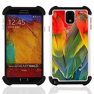 - parrot feathers rainbow colorful bird/ H??brido 3in1 Deluxe Impreso duro Soft Alto Impacto caja de la armadura Defender - SHIMIN CAO - For Samsung Galaxy Note3 N9000 N9008V N9009