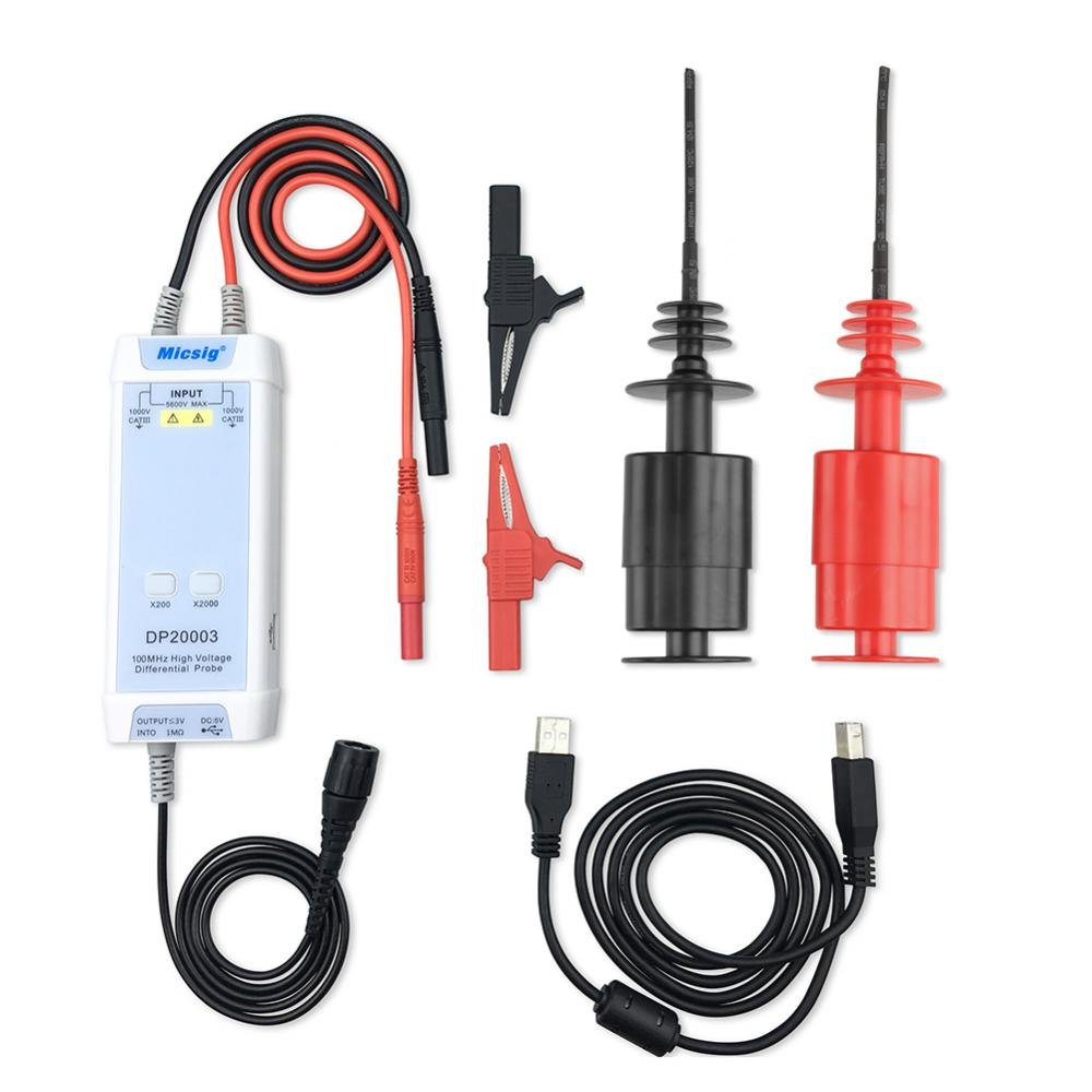 Akozon Hochspannung Differential Probe Micsig DP20003 Oszilloskop 5600V 100M Oszilloskop Probe Kit-3.5ns Anstieg Zeit-200X / 2000X Attenuation-Overroad Alarm