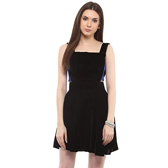 b0b8331cd04f2d Roving Mode Women s Sleeveless Black Velvet Overall Mini A-Line Dress   Amazon.in  Clothing   Accessories
