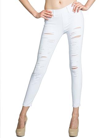 CASPAR KHS039 Damen Super Stretch Hose mit Rissen  Amazon.de  Bekleidung c3fddb7a33