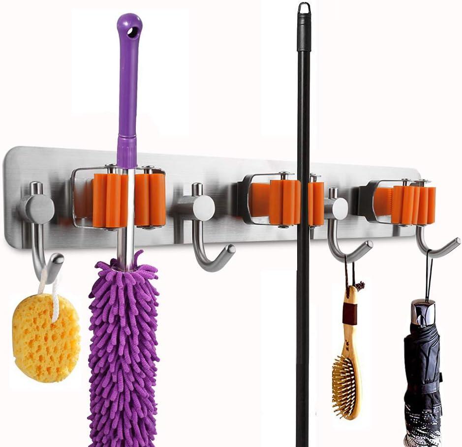Edelstahl Mop Besen Halter, 3M Selbstklebend Wandmontierte Garten Werkzeug Bad Küche Organizer Rack mit Feder Clip Design (4 Hooks and 3 Quick