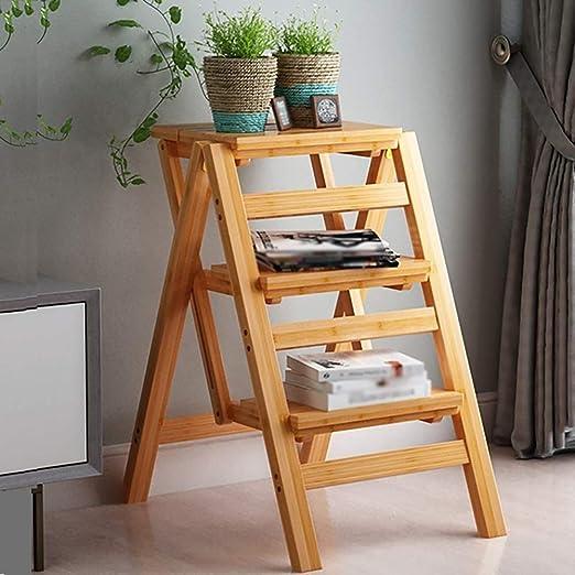 DQMSB Taburete Plegable de bambú Creativo Escalera hogar ...