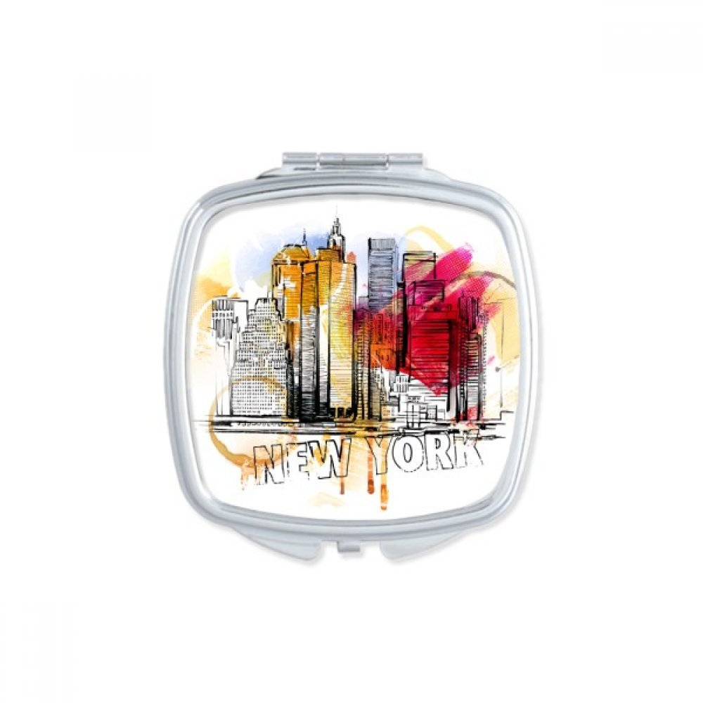 New York City America The United States Hand Drawing Square Compact Makeup Pocket Mirror Portable Cute Small Hand Mirrors Gift