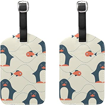 Cute-Two-Penguins Leather Luggage Tags Personalized Suitcase Tag With Privacy Flap