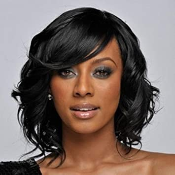 SHKY Fashion Short Curly Black Wigs - Perruques