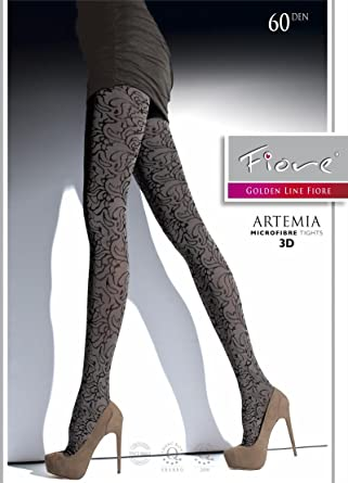 aab89859d45 Fiore Artemia 60 denier floral pattern opaque top quality women ladies  tights Perfect for winter and spring  Amazon.co.uk  Clothing