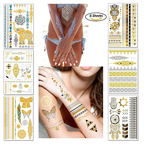Temporary Boho Metallic Tattoos for Women Girls   Gold Silver Shimmer Designs Jewelry Tattoos   80+ Color Fake Waterproof Tattoo Stickers Henna Body Paints (Pattern 1)]()