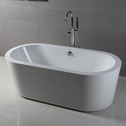Superbe FerdY 67u0026quot; Freestanding Bathtub Bathroom Acrylic Soaking Bath Tub Stand  Alone Tub Contemporary Style High