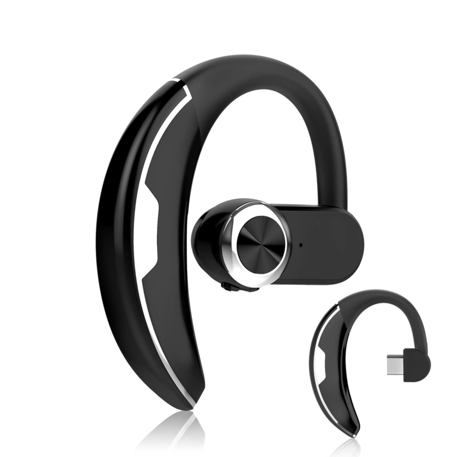 KINGWorld Bluetooth Headset with 36-Hr Playing Time V4.1 Car Driving Bluetooth Earpiece Wireless Hands Free Headphones with Mic Cell Phone Noise Cancelling In-Ear Compatible with iPhone (Silver) by KINGWorld