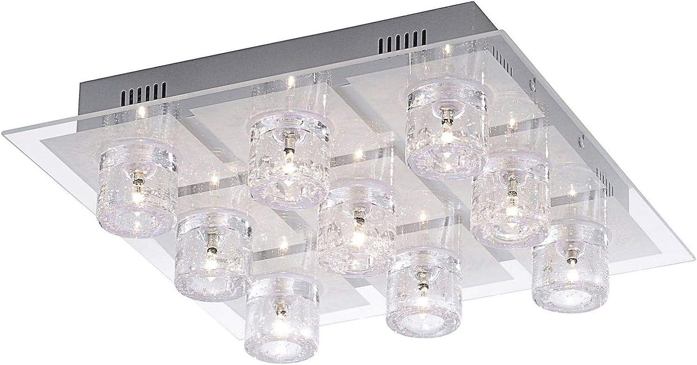 Lámpara de techo con mando a distancia y cristales para salón ...