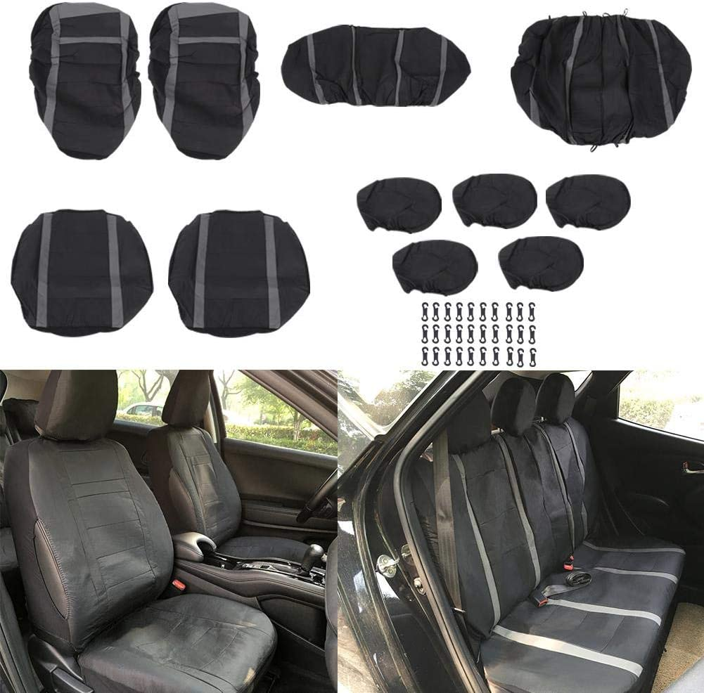 Gray Cuque Auto Seat Cover Set PU Leather 11Pcs Auto Seat Cover Front Rear Protector Set Universal Faux Leather Car Seat Covers Full Set