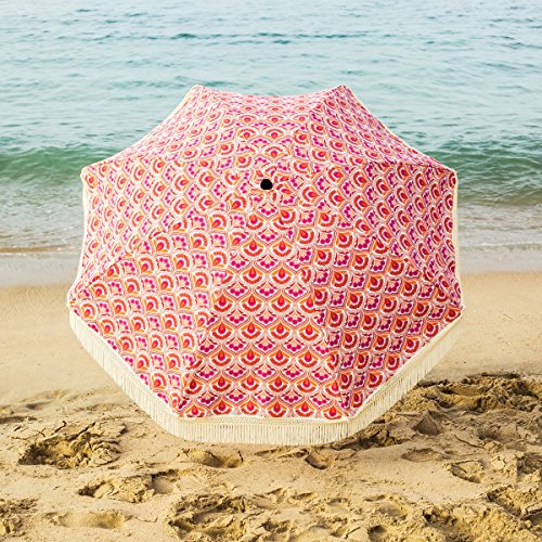 Beach Brella 5 Ft. Designer Chic Fiberglass Beach Umbrella with Telescopic Pole & Fringes - Thalia
