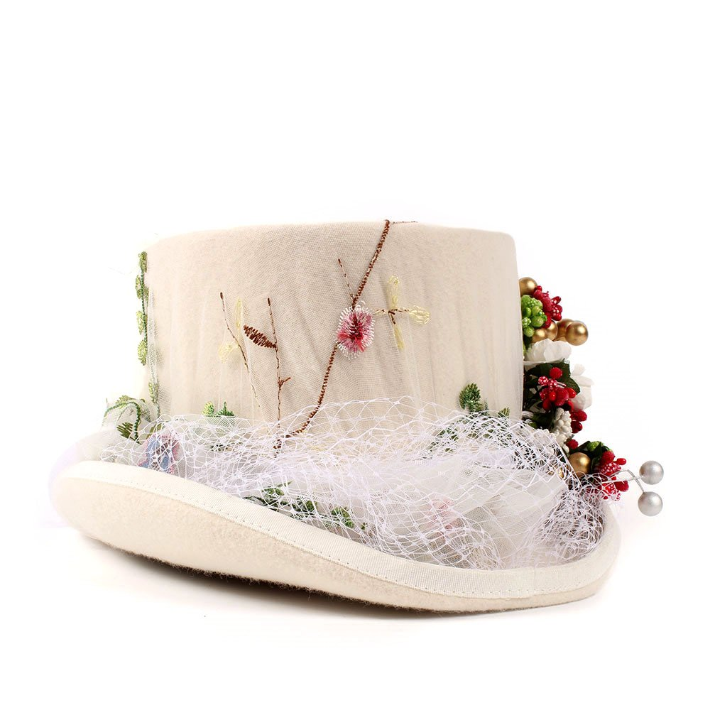 HYF Womens Top Hat Victorian Gothic Steampunk Wedding Flowers Lace Top Hat