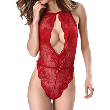 5e3f1cfa5 Pagacat Femmes Lingerie Erotique Sexy Halter Cut Out Bow Dentelle Une Piece  Body Sleepwear